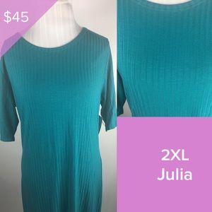 Lularoe 2XL Solid ribbed turquoise Julia